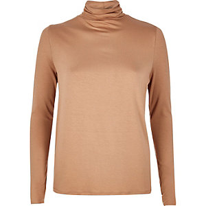Light brown split back roll neck top