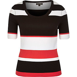 Black stripe scoop neck top