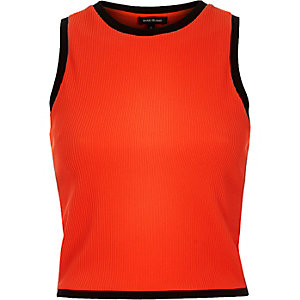 Orange ribbed sporty crop top