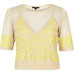 Light yellow mesh embroidered crop top