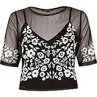 Black mesh embroidered crop top