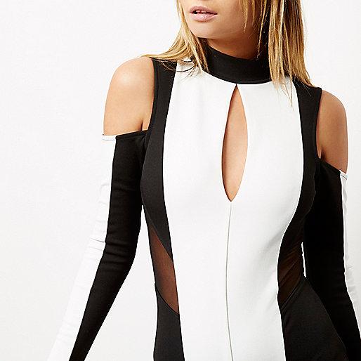 Cream color block cold shoulder bodysuit