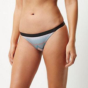 Blue zig zag print bikini bottoms