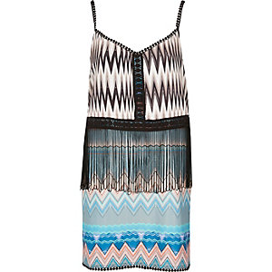 Blue print fringed dress