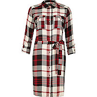 Red checked shirt dress