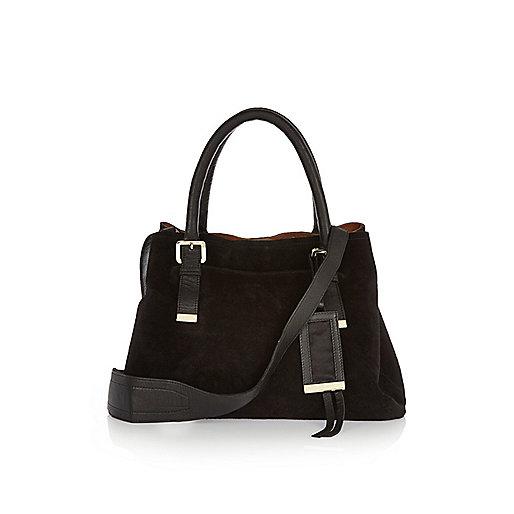 Black suede buckle handbag