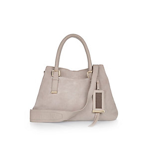 Grey suede buckle handbag