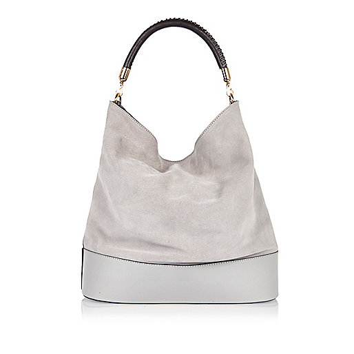 Grey suede slouch bag