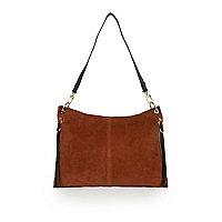 Dark orange suede slouch handbag
