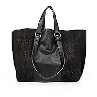 Black leather winged tote handbag