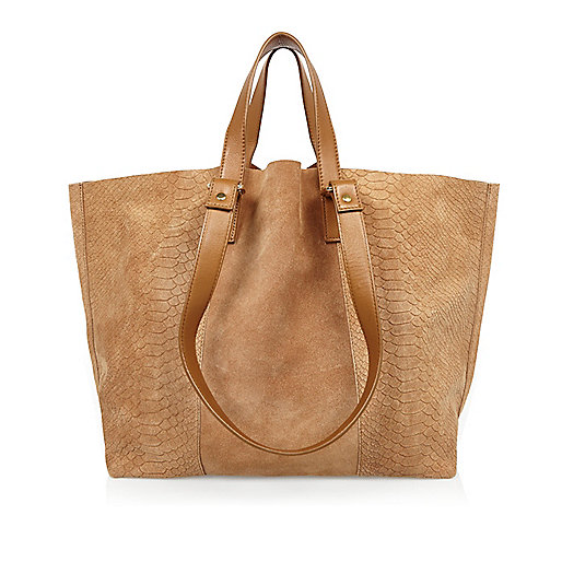 Tan scale leather winged handbag