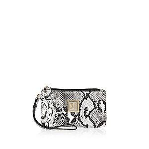 Black snake print pouch purse