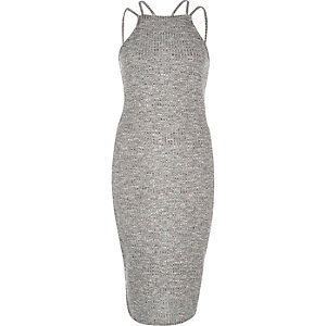 Grey double strap bodycon dress