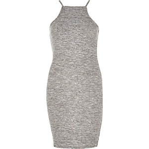 Grey high neck bodycon dress