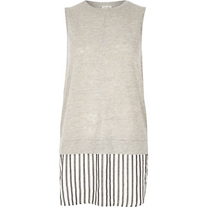 Grey stripe panel longline top