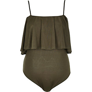 Khaki frilly bodysuit