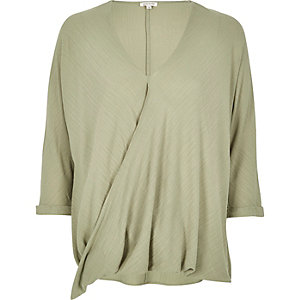 Light green wrap blouse