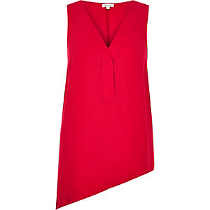 Red sleeveless asymmetric top