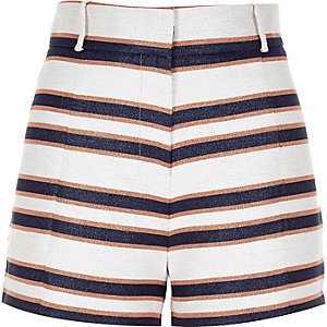 Navy stripe high waisted shorts