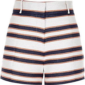 Navy stripe high rise shorts