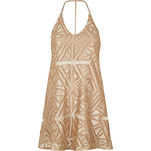 Gold sequin swing dress