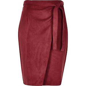Dark red faux suede wrap skirt