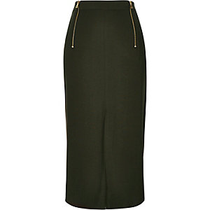 Khaki double zip midi skirt