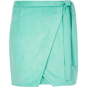 Bright green faux suede wrap mini skirt