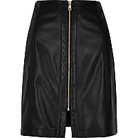 Black leather look zip mini skirt
