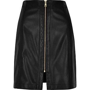 Black leather look zip mini skirt