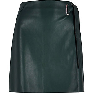 Dark green leather look wrap skirt