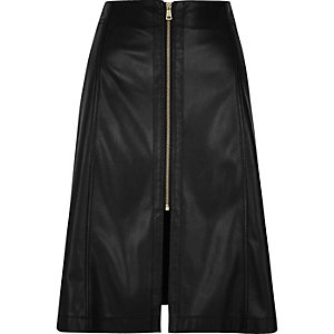 Black leather-look A-line midi skirt