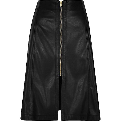 Black leather look A-line midi skirt