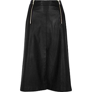 Black leather look zip detail midi skirt