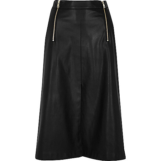 Black leather look zip detail midi skirt