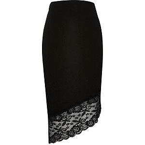 Black asymmetric lace hem pencil skirt
