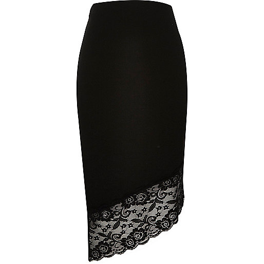 Black asymmetric lace hem pencil skirt