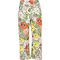 White floral print cropped trousers