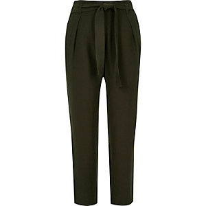 Black soft tie waist tapered pants