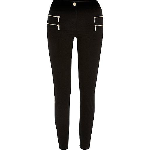 Pantalon en sergé noir zippé skinny