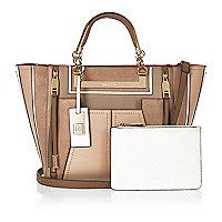 Tan tote handbag with purse
