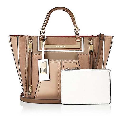 Tan tote handbag with purse