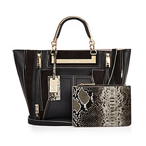 Black tote handbag with purse