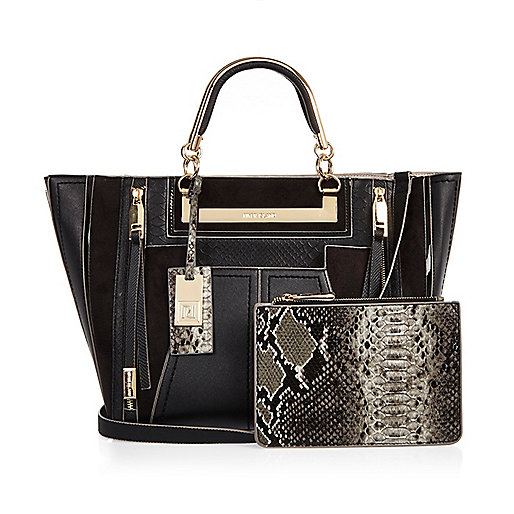 Black tote handbag with purse