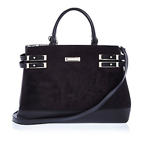 Black strappy tote handbag