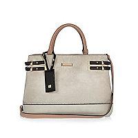 Grey strappy tote handbag