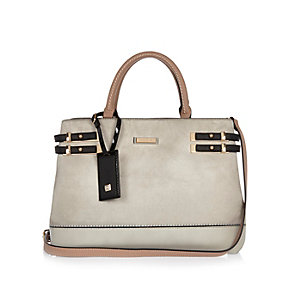 Grey strappy tote handbag