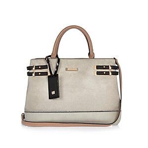 Grey strappy tote bag