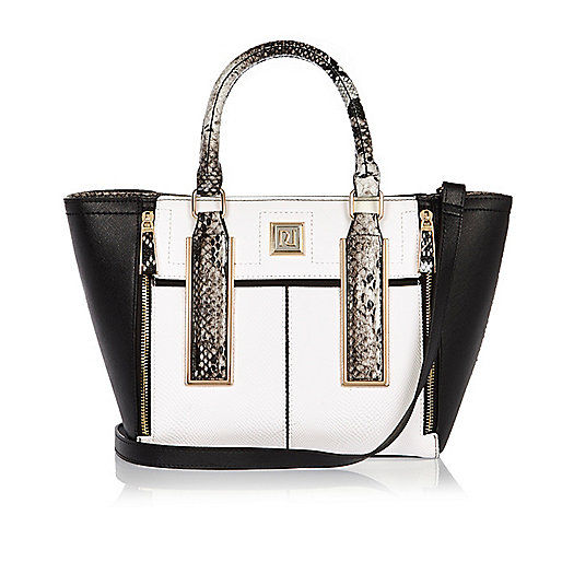 White print mini winged tote handbag