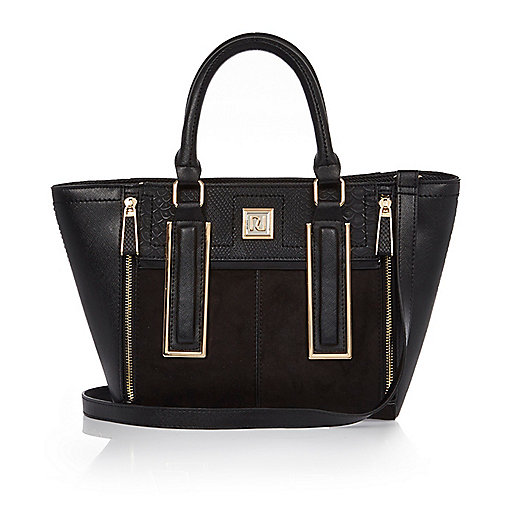 Black mini winged tote bag